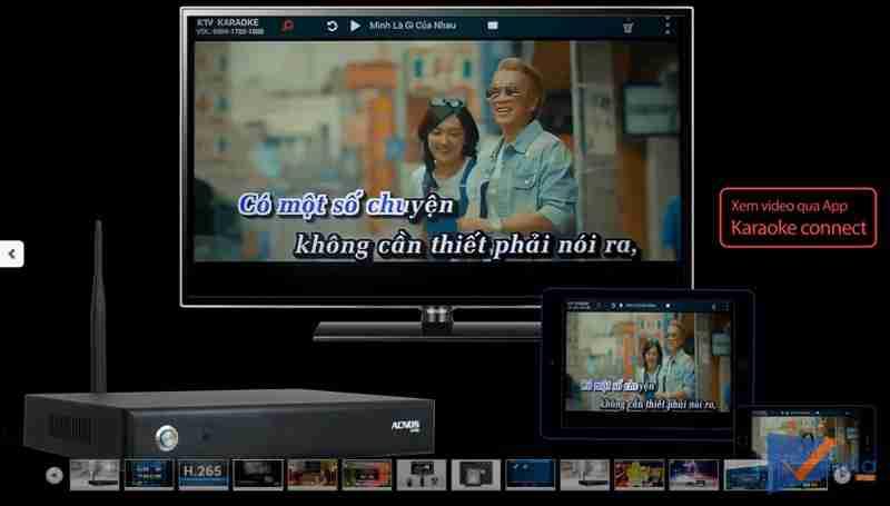 Phát video ra thiết bị di động với đầu karaoke Acnos KM6