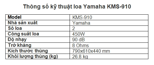 Thông số kỹ thuật Yamaha KMS-910
