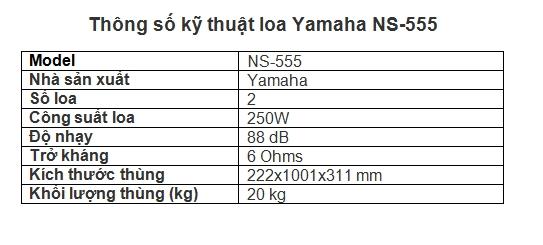 Thông số kỹ thuật loa Yamaha